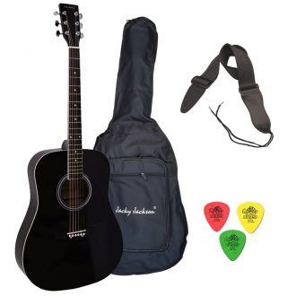 J.J Black Acoustic Guitar Pack w/ Case, Strap, Picks