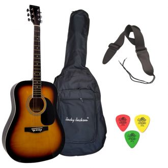 J.J Sunburst Πακέτο Ακουστικής Κιθάρας με Θήκη-Ζώνη-Πέννες